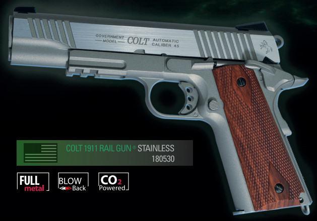 Cybergun Branded KWC 1911 Government Model CO2 GBB Pistol with Full Trades! (Colt 1911 Rail Gun) - Matte Stainless Model