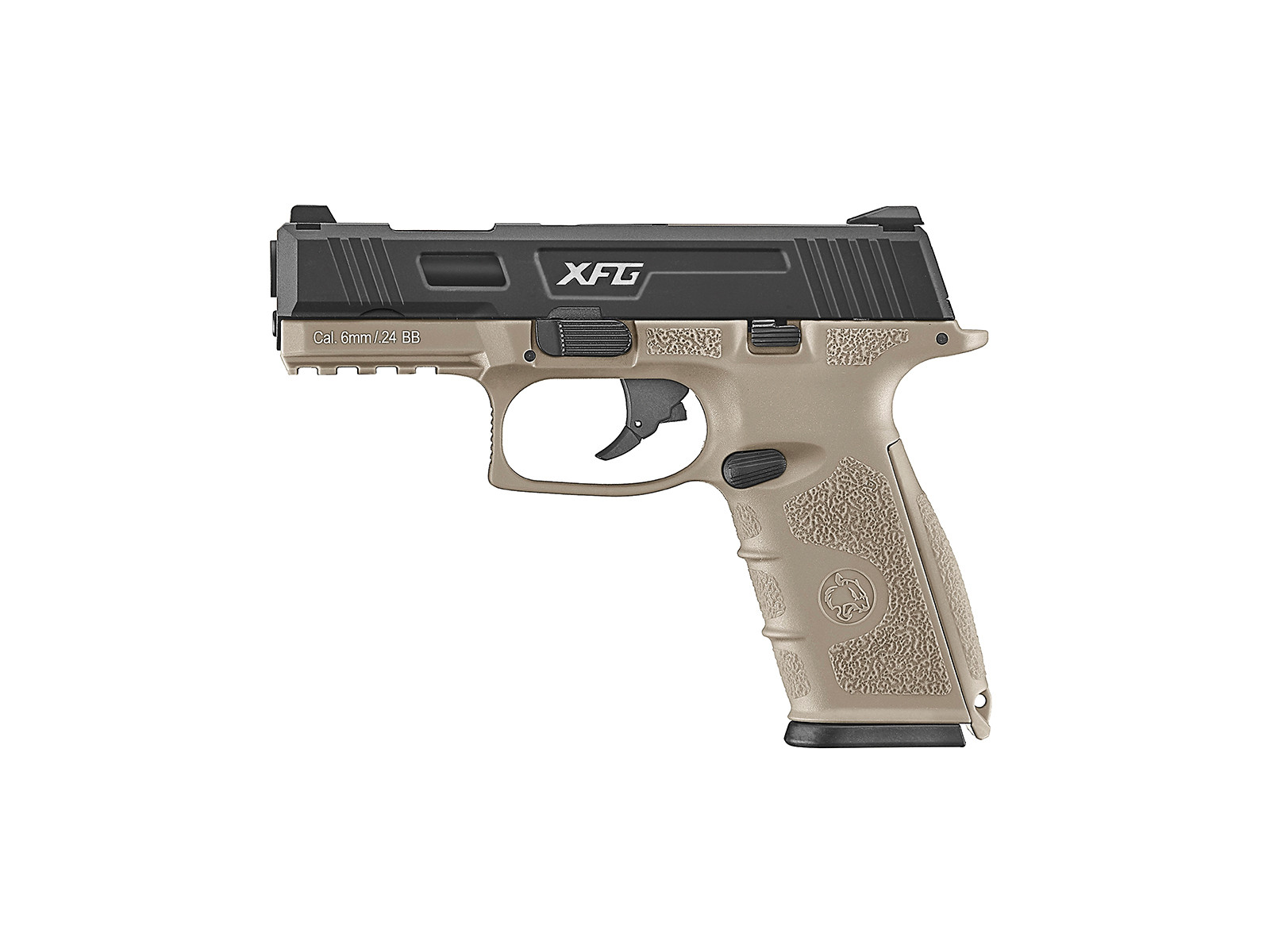 ICS XFG Gas Blowback Airsoft Pistol - Black and Tan