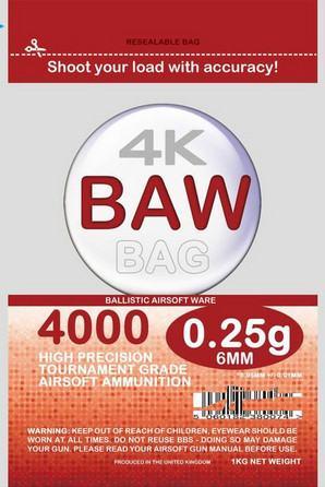 BAW Bag Precision BB's 5.95mm 0.25g 1Kg (4000 BB's) - Zip-lock Pouch