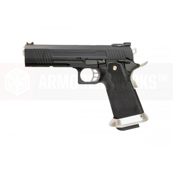 Armorer Works Custom Hi-Capa HX1002 Airsoft Pistol - Split Slide in Black with Black Frame