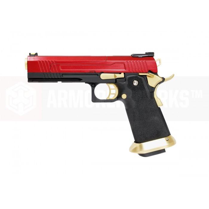 Armorer Works Custom Hi-Capa HX1004 Airsoft Pistol - Split Slide in Red with Gold