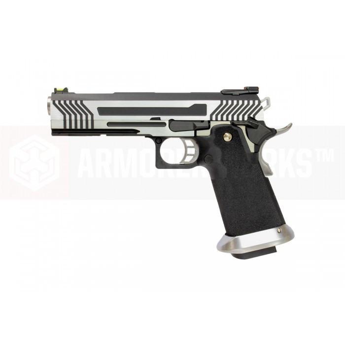 Armorer Works Custom Hi-Capa HX1101 Airsoft Pistol - Silver Slide with Black Frame