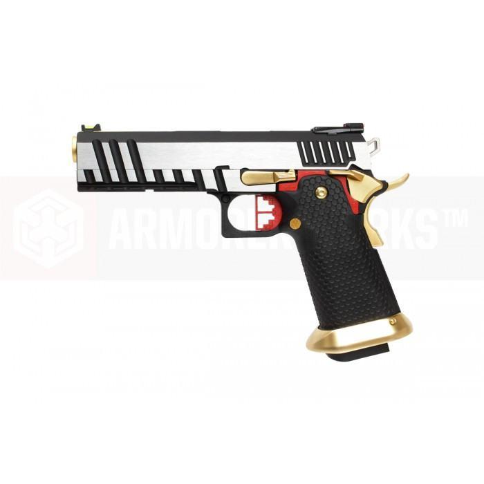 Armorer Works Custom Hi-Capa HX2001 Airsoft Pistol - Silver Slide, Black Frame, Gold Barrel