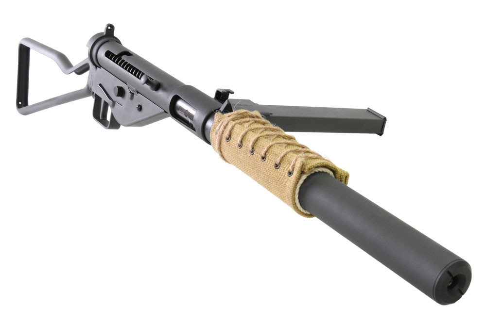 Northeast Airsoft STEN MkII (S) GBB Airsoft Rifle - Skeleton Stock With Suppressor