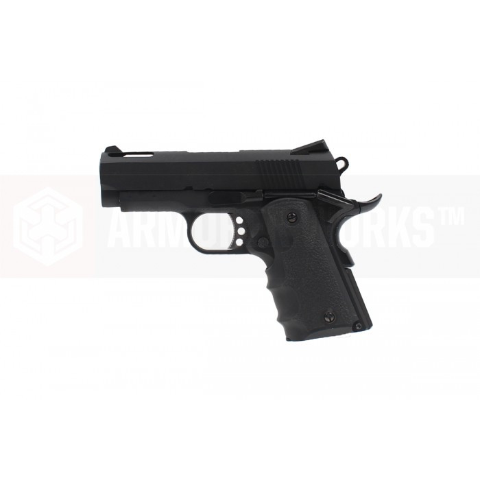 Armorer Works Custom 1911 Compact NE1002 Airsoft Pistol - Black Slide and Black Frame