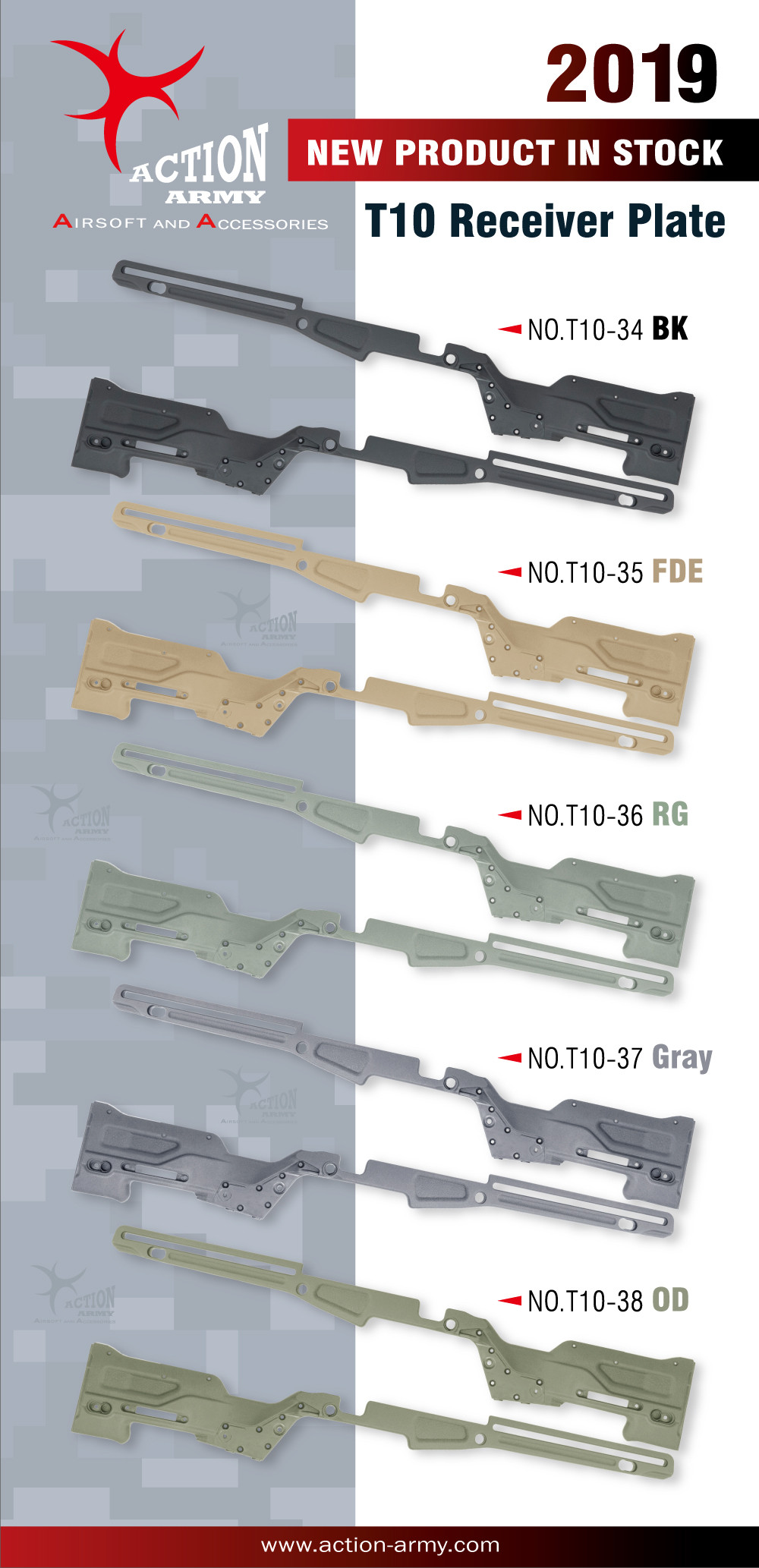 Action Army T10 Receiver Set for AAC T10 Rifles - Grey