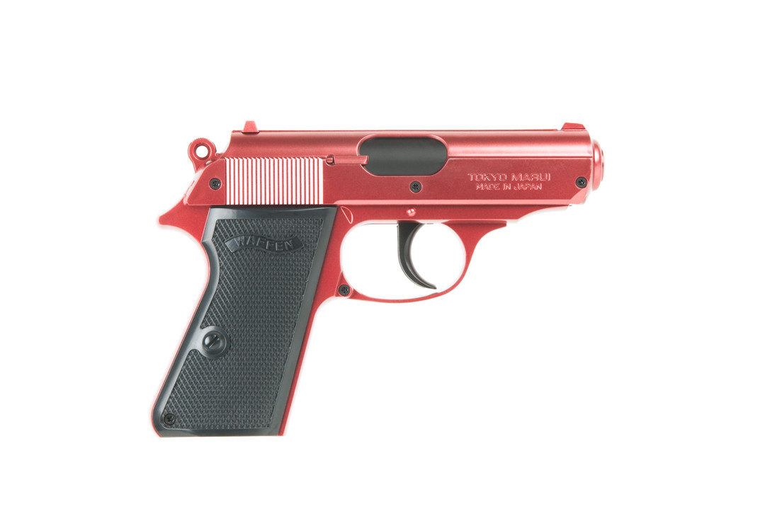 tokyo marui two tone red walther ppk semi auto spring airsoft