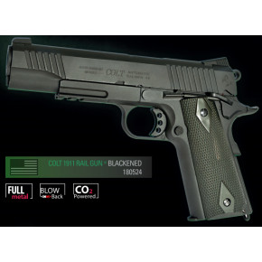 Cybergun Branded KWC 1911 Government Model CO2 GBB Pistol with Full Trades! (Colt 1911 Rail Gun) - Black Model