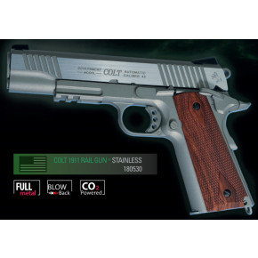 Cybergun Branded KWC 1911 Government Model CO2 GBB Pistol with Full Trades! (Colt 1911 Rail Gun) - Matte Stainless Model
