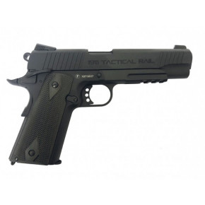 Milbro Tactical Division branded KWC 1911 Tactical Rail Series BlowBack Airsoft Pistol - Black