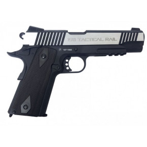 Milbro Tactical Division branded KWC 1911 Tactical Rail Series BlowBack Airsoft Pistol - Dual Tone