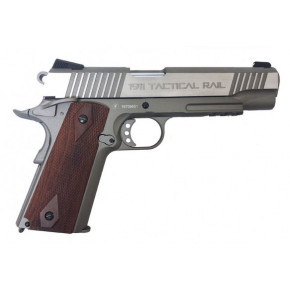Milbro Tactical Division branded KWC 1911 Tactical Rail Series BlowBack Airsoft Pistol - Stainless