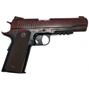 KWC 1911 .45 Railed CO2 NBB Airsoft Pistol - Full Metal Can Destroyer! - Zombie Blood
