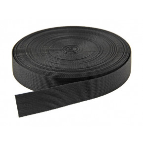 25mm Black nylon webbing - 1 Metre