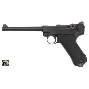 WE Luger P08 6-Inch GBB Pistol - Black