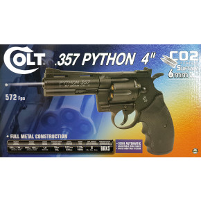"Cybergun Branded KWC Colt Python .357 Magnum CO2 Airsoft Revolver - 4"" Barrel, Black"