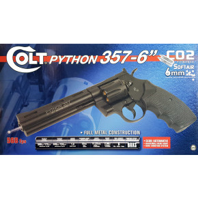 "Cybergun Branded KWC Colt Python .357 Magnum CO2 Airsoft Revolver - 6"" Barrel, Black"