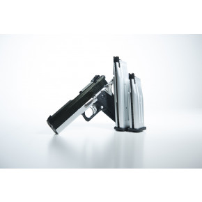 A.W.E. 4.3 Hi Capa STI Custom - CNC and Steel construction - Silver Frame/Black Slide/Black Sights