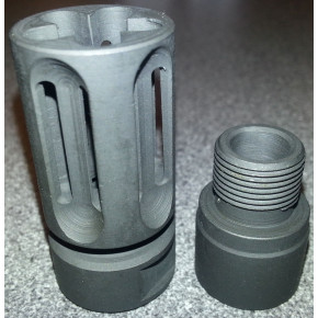 Bird Cage style steel flash hider 14mm CW + CCW Adapter
