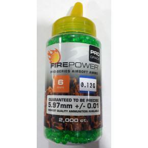 Firepower 0.12g Budget BB's (2000) Clear Green