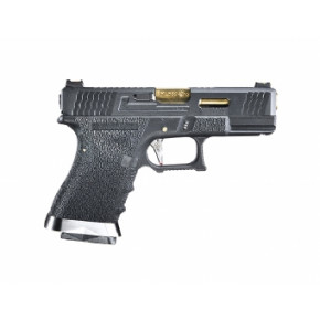 WE Glck G19 Force Custom Tactical GBB Airsoft Pistol - Black Frame, Black Slide & Gold Barrel