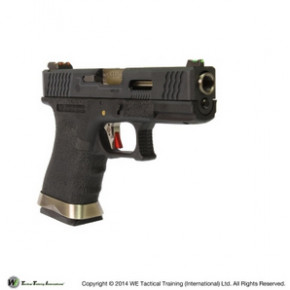 WE Glck G19 Force Custom Tactical GBB Airsoft Pistol - Black Frame, Black Slide & Silver Barrel