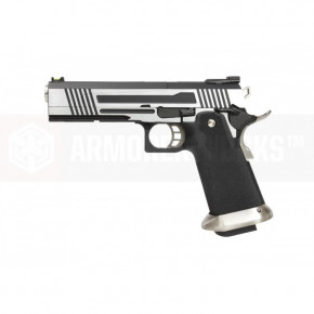 Armorer Works Custom Hi-Capa HX1001 Airsoft Pistol - Split Slide in Silver with Black Frame