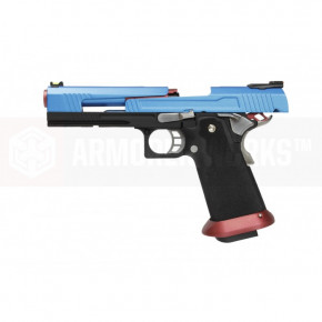 Armorer Works Custom Hi-Capa HX1005 Airsoft Pistol - Split Slide in Blue with Silver and Red