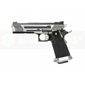 Armorer Works Custom Hi-Capa HX1101 Airsoft Pistol - Silver Slide with Black Frame