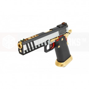 Armorer Works Custom Hi-Capa HX2001 Airsoft Pistol - Silver Slide, Black Frame, Gold Barrel