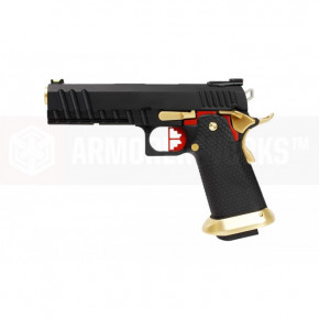 Armorer Works Custom Hi-Capa HX2002 Airsoft Pistol - Black Slide, Black Frame, Gold Barrel with Red Highlights