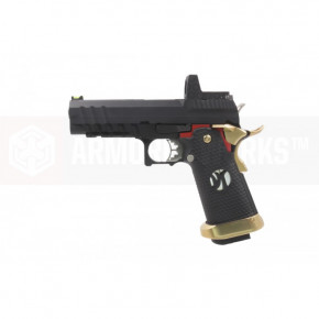 Armorer Works Custom Hi-Capa HX2601 Airsoft Pistol - Black Slide, Black Frame with Gold and Red