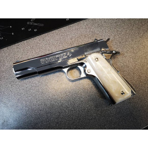 The Cage - Tokyo Marui Colt Government 1911 Mk IV Series 70 Airsoft Pistol - Nickel with White Pearl Grips (One ONLY)
