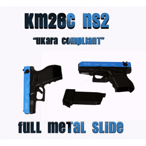 Two-Tone KWA KM26C (Glock 26C) pistol with metal slide.