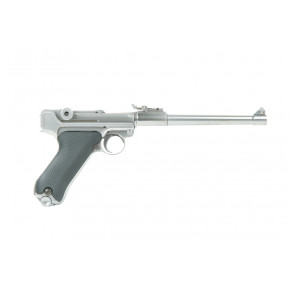 WE Luger P08 8-Inch GBB Airsoft Pistol - Stainless / Silver