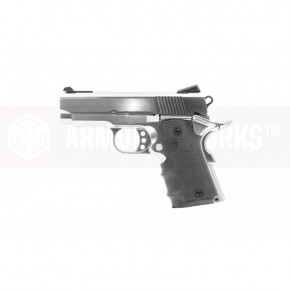 Armorer Works Custom 1911 Compact NE1001 Airsoft Pistol - Silver Slide and Silver Frame