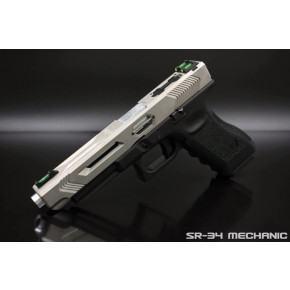 SR Union SR-34 Mechanic Pistol with Hard Case - Nickel Silver