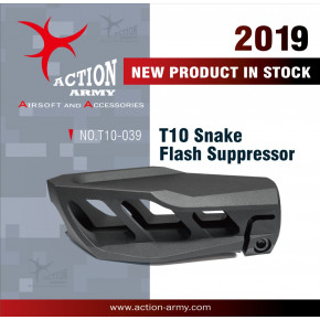 Action Army Snake Flash Suppressor for 14mm ccw threaded Rifles - Bla