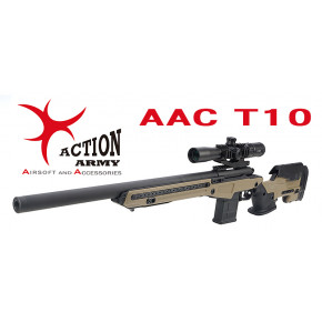 Action Army AAC T10 Airsoft Sniper Rifle - Full Dark Earth (TAN) - READ INSIDE FOR SPECIAL LIMITED TIME OFFER!