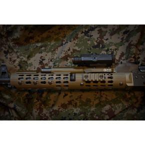 TWI VS-25 AK Keymod Short Tubular Aluminum HandGuard for AK105 - TAN