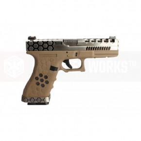 AW Custom VX Series Custom Hex-Cut Airsoft Pistol - VX0110 Tan