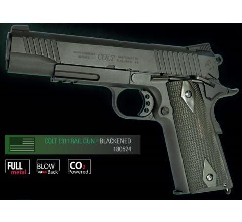 Cybergun Branded KWC 1911 Government Model CO2 GBB Pistol with Full Trades! (Colt 1911 Rail Gun) - Black Model