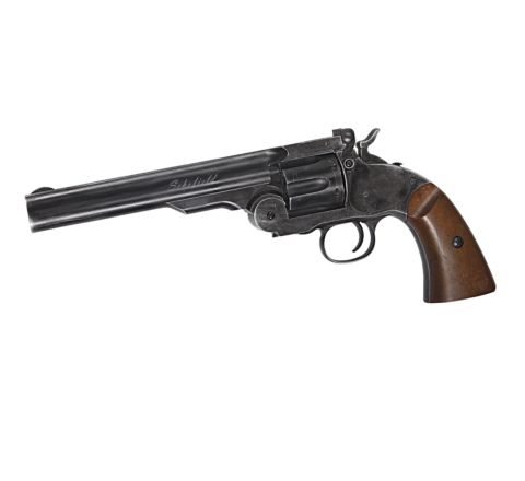 """ASG Branded Wingun Schofield 6"""" Airsoft Revolver - Battlefield Finish with Full Trades"""