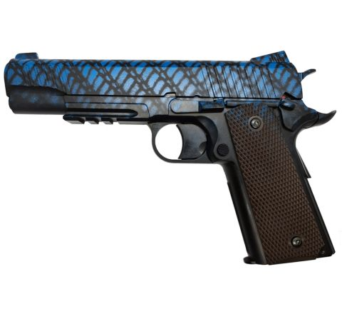 KWC 1911 .45 Railed CO2 NBB Airsoft Pistol - Full Metal Can Destroyer! - Snake Tone