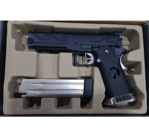 Reworked Armorer Works Custom Hi-Capa HX2302 Airsoft Pistol - Black Slide with Black Frame