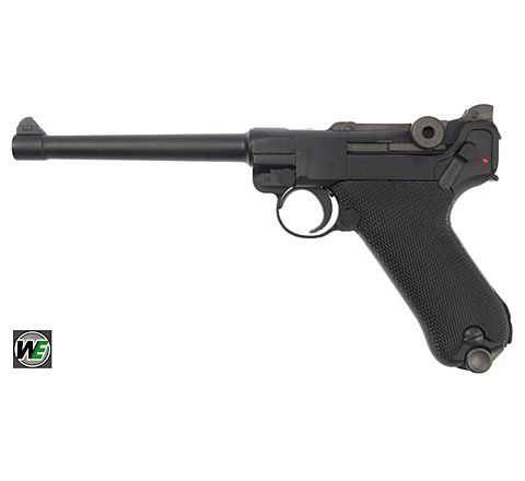 WE Airsoft Luger P08 6-Inch GBB Pistol - Black