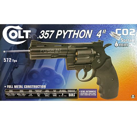 "Cybergun Branded KWC Colt Python .357 Magnum CO2 Airsoft Revolver - 4"" Barrel, Black"