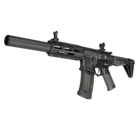 """ARES Amoeba """"Honey Badger"""" AM-014 with Extended Suppressor Airsoft Rifle - Black"""