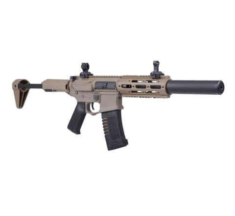 """ARES Amoeba """"Honey Badger"""" AM-014 with Extended Suppressor Airsoft Rifle - Tan"""