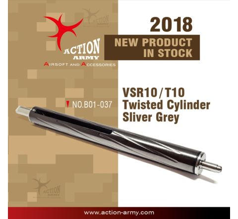 Action Army Teflon Twisted Cylinder for VSR/T10 series rifles - Silver Grey